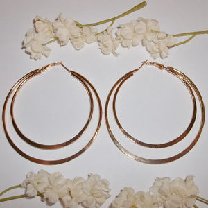 Huge Gold Double Hoop Statement Large Big NWT 4719
